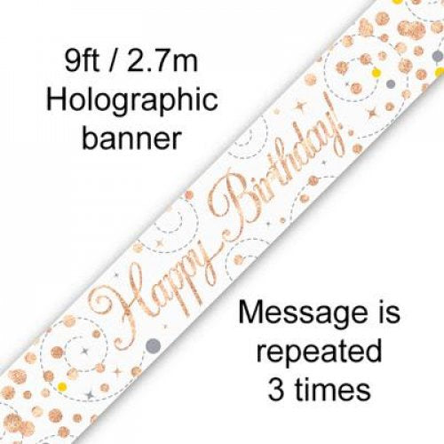 Rose Gold Sparkling Banner | Happy Birthday