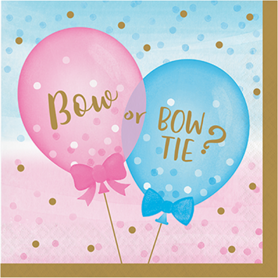 Gender Reveal Napkins | Bow or Bow Tie?