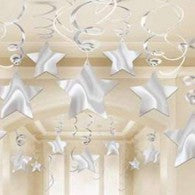 Hanging Decoration Stars Silver Pk 30