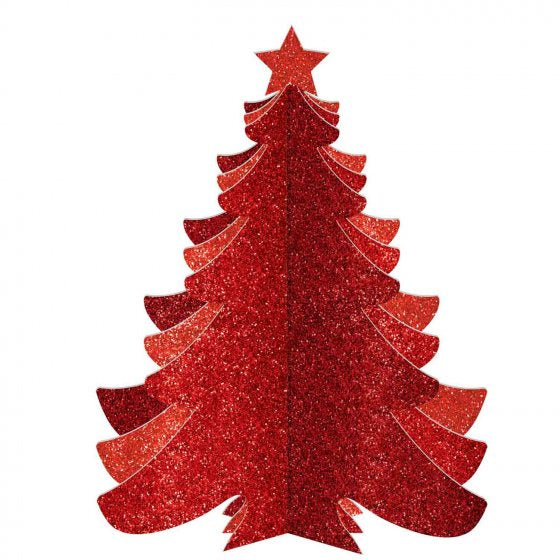 3D Christmas Tree Glittered | Red