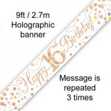 Rose Gold Sparkling Banner | 16th Birthday
