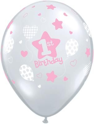 1st Birthday Balloons Pink Clear - Single or Pack - Helium Filled - Flat