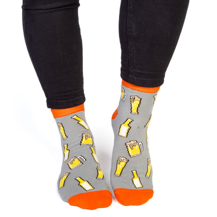 Beer Print Socks - 'Bring Beer' on Bottom