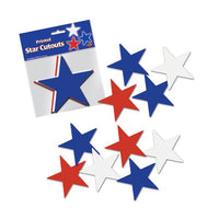 Star Cutouts Red, White & Blue Pk10