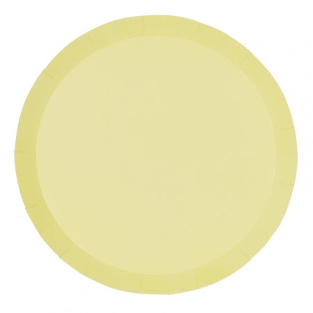Pastel Yellow Paper Plates | Round | Lunch Pk10