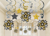 Hanging Stars Swirl Decorations PK 30