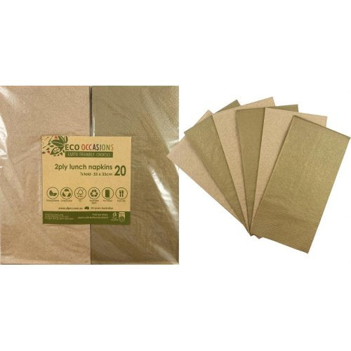 Lunch Napkins | 1/8 Fold | Metallic Gold & Kraft 20pk