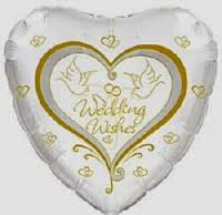Heart Shape Wedding Wishes Doves Foil Balloon