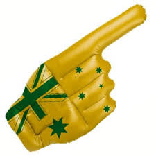 Aussie Inflatable Hand Green and Gold
