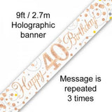 Rose Gold Sparkling Banner | 40th Birthday