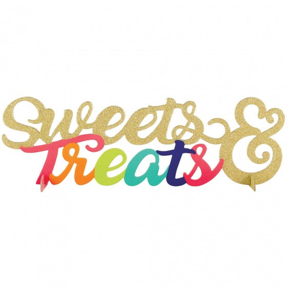 Sweets & Treats Sign Glitter Gold