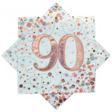 90th Napkins Rose Gold & White