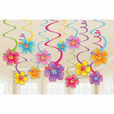 Hibiscus Spiral Hanging Decorations |  12pcs