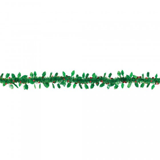 Christmas Foil Garland | Holly & Berries | 2.74m
