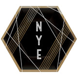 Gold & Black NYE Paper Plates | Hexagon