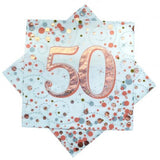 50th Napkins Rose Gold & White