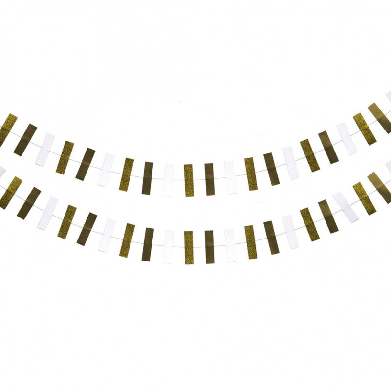 Rectangle Shape Garland - Gold & White