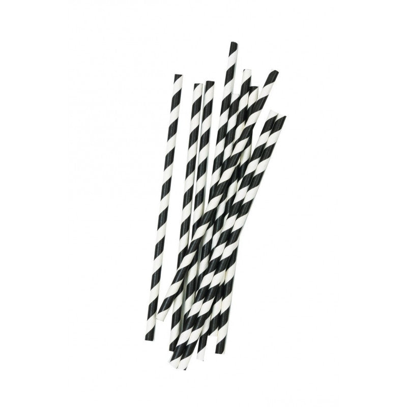 Straws Black & White Striped Pk10