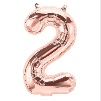 Small Number Balloon 2 - Rose Gold - Air filled only