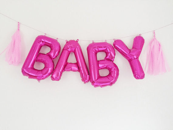 Pink BABY Letter Balloon Foil Kit - Air Fill Only