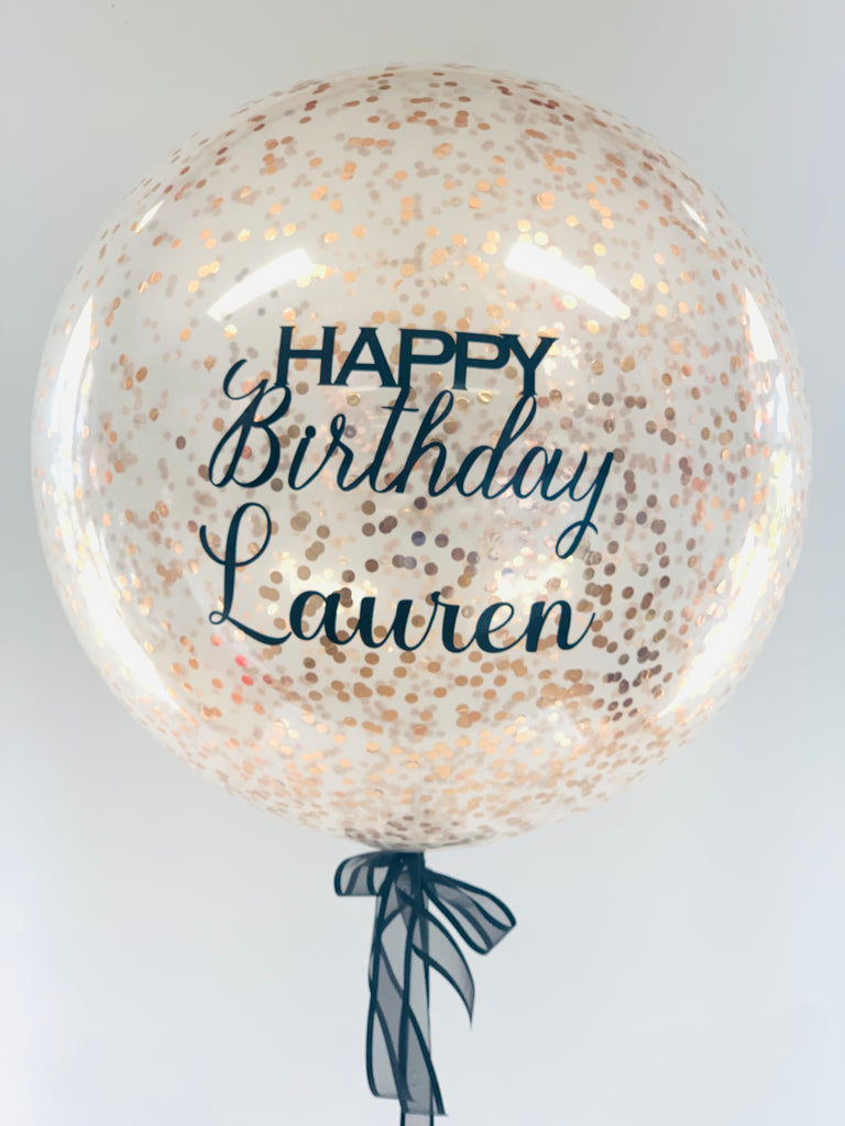 Personalised Large rose gold confetti balloon