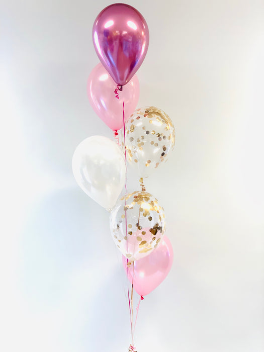 Six balloon arrangement with confetti - Pink, White, Rose Gold