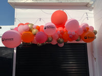 Peach & Pink Balloon Garland with 3 custom printed balloons