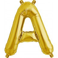 Small Letter Balloon A - 41cm Gold - Air filled only