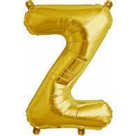 Small Letter Balloon Z - 41cm Gold - Air filled only