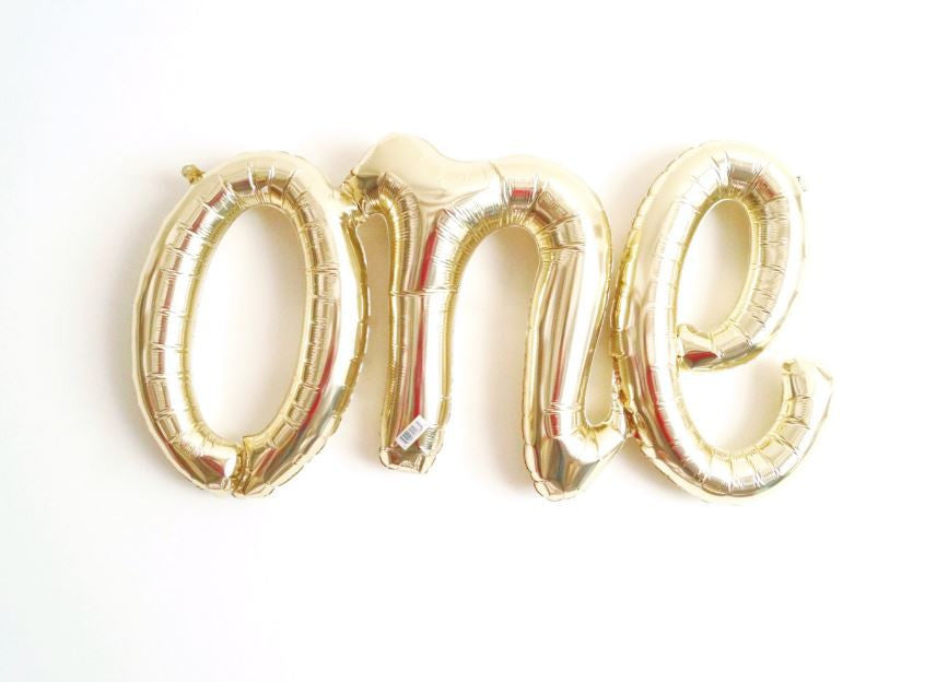 One Balloon Script White Gold - Air Fill Only