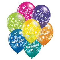 Anniversary Balloons Assorted - Singles or Packs - Helium Filled or Flat