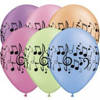 Music Note Balloons Neon Assorted- Singles or Packs - Helium Filled or Flat