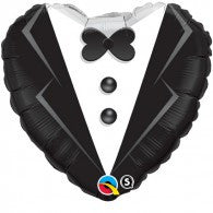 Heart Shape Wedding Tuxedo Foil Balloon