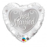 Heart Shape Just Married Foil Balloon
