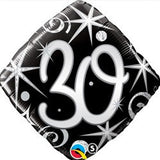 30th Bithday Balloon - Silver & Black