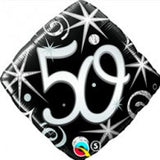 50th Balloon - Diamond Shape Silver & Black