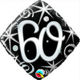60th Birthday Balloon - Diamond Shape Balck & Silver