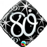 80th Balloon Black & Silver Foil Balloon