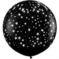 Round Black with White Stars Balloon 90cm