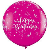 Happy Birthday Large Round Balloon - Pink 90cm