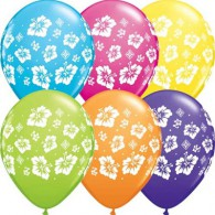 Tropical Hibiscus Balloons Assorted - Singles or Packs - Helium Filled or Flat