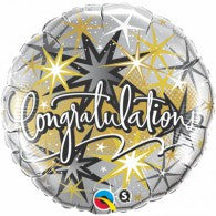 Congratulations Balloon - Silver, Black & Gold