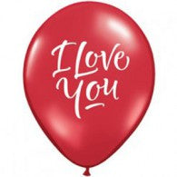 I Love You Balloons Red - Singles or Packs - Helium Filled or Flat