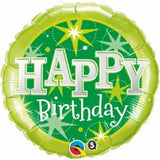 Happy Birthday Balloon Green Sparkle