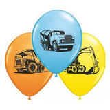 Construction Truck Balloons Assorted - Singles or Packs - Helium Filled or Flat