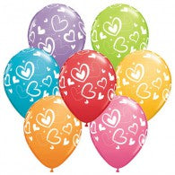 Heart Balloons Assorted - Singles or Packs - Helium Filled or Flat