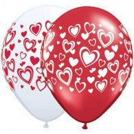 Red & Pink Heart Balloons - Singles or Packs - Helium Filled or Flat