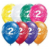 Number 2 Latex Balloon with Stars Assorted 28cm