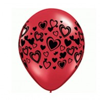 Heart Balloons Red w/ black hearts - Singles or Packs - Helium Filled or Flat