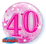 40th Balloon - Bubble Pink